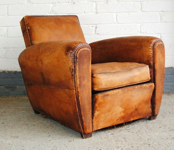 Vintage french leather club chair : leather armchair recliner - islam-shia.org