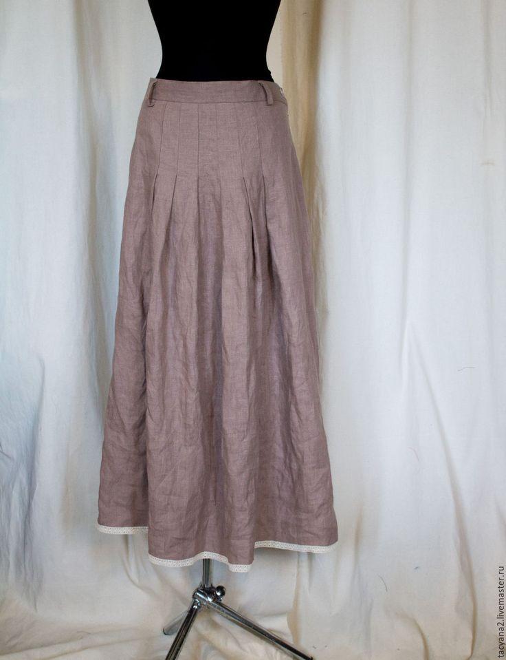 Купить Юбка льняная бохо Александра - бежевый, однотонный, юбка бохо, юбка в пол
