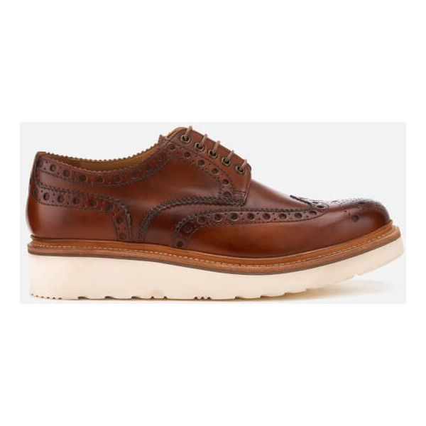 Grenson Men's Archie V Hand Painted Leather Brogues - Tan ($340) ❤ liked on Polyvore featuring men's fashion, men's shoes, men's oxfords, tan, mens tan brogues, mens leather brogues, mens leather shoes and grenson mens shoes