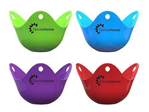 Silicone Egg Poacher Cups - Set of 4 BPA Free Poaching Po