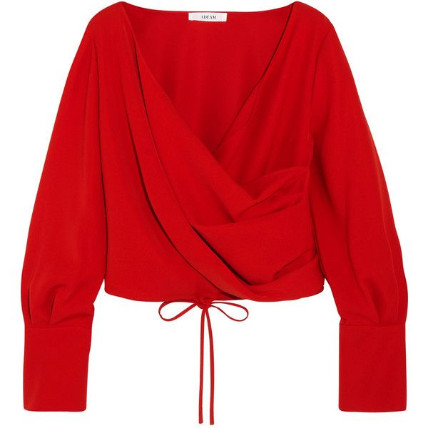 Adeam Wrap-effect crepe blouse ($297) ❤ liked on Polyvore featuring tops, blouses, shirts, long sleeve tops, tomato red, shirt blouse, draped blouse, long sleeve red blouse, long sleeve blouse and red top
