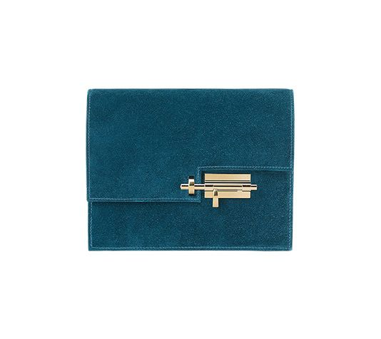 Hermès   Verrou Clutch bag in Doblis calfskin with permabrass hardware, one snap pocket, one applied pocket, hand carry. Dimensions: l. 21 x h. 16 x p. 4 cm Color : ocean blue Ref. H068757CPZ7 €4,250.00