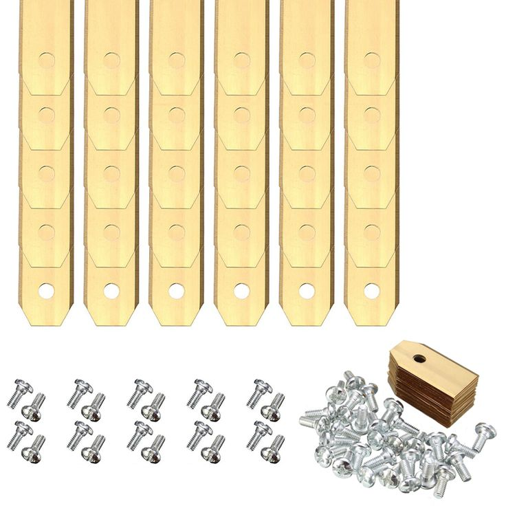 30 pcs emas titanium penggantian pisau mesin pemotong rumput dengan sekrup untuk mesin pemotong accesories 0.6mm