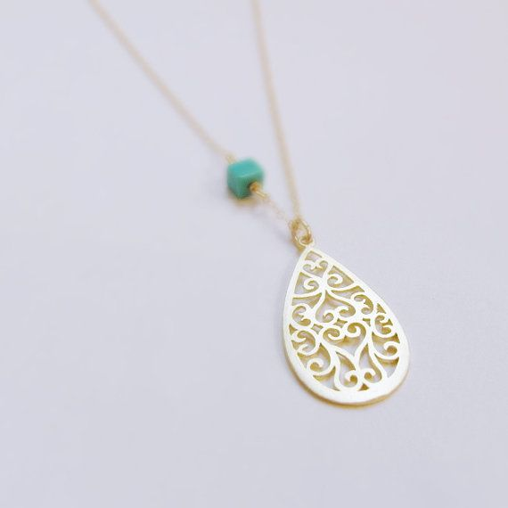 Gold Plated Necklace with turquoise bead by BOiS    Available at Artists Walk