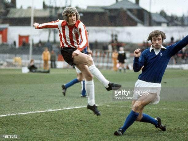 circa 1973 Sheffield United v Everton at Bramall Lane Sheffield United's Alan Woodward shoots past Everton's Arthur Styles