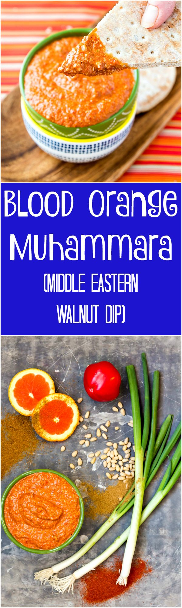 Blood orange muhammara is a citrusy variation on this traditional Moroccan walnut dip. Think of it as a spicy, tangy pesto starring red peppers and blood orange! A great appetizer recipe for a crowd! | pastrychefonline.com