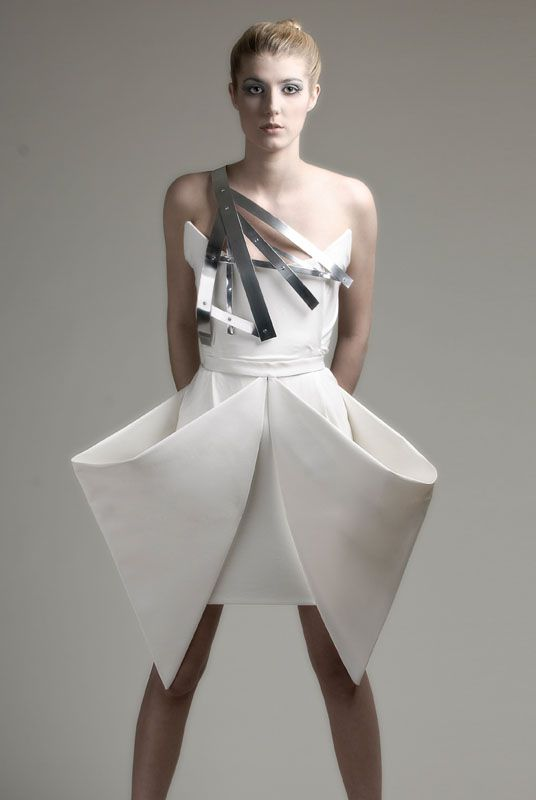 Sculptural Fashion - origami dress with crisp folds for an angular draped silhouette; creative fashion // Charlotta Mattsson