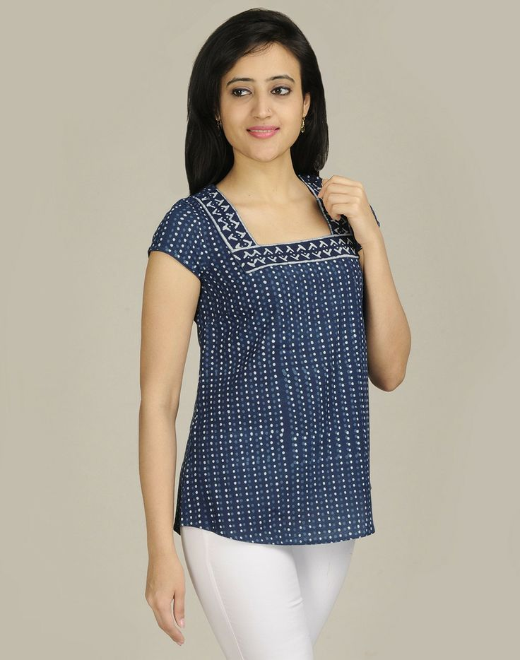 Cotton Printed Square Combination Border Short Kurta
