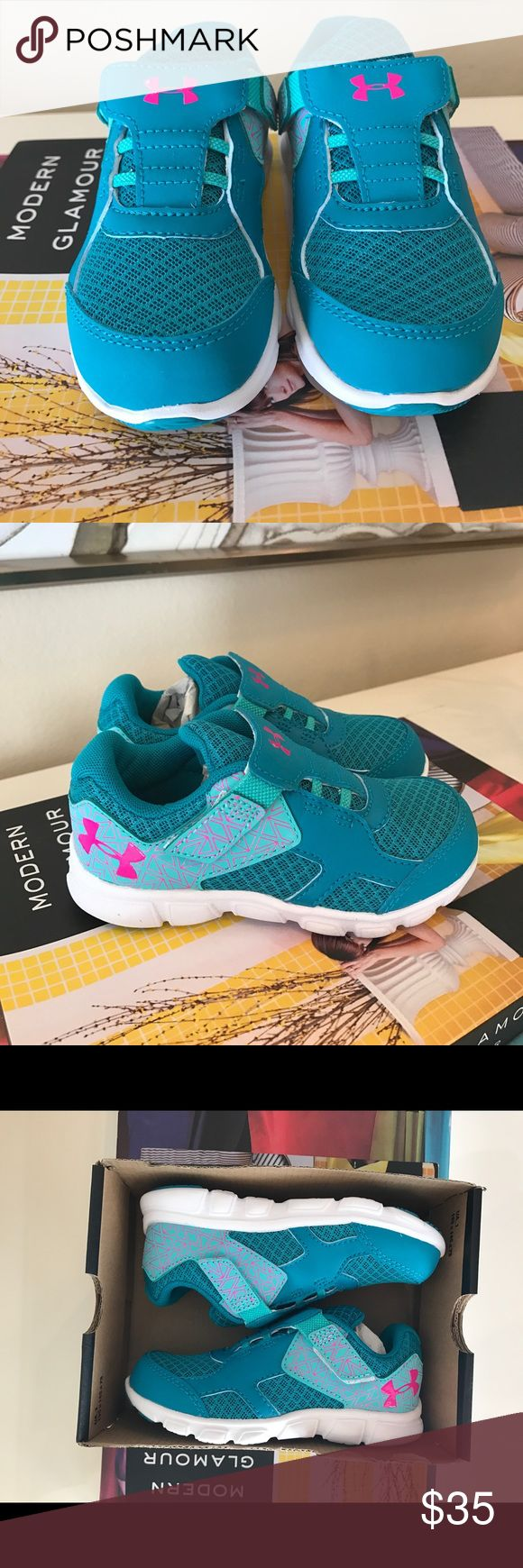 NWT GIRLS UNDER ARMOUR TENNIS SHOES SNEAKERS NWT GIRLS UNDER ARMOUR TENNIS SHOES SNEAKERS NEW IN BOX SIZE 9 US VELCRO CLOSE BRAND NEW IN BOX TEAL AQUA PINK WHITE KIDS SHOES Under Armour Shoes Sneakers