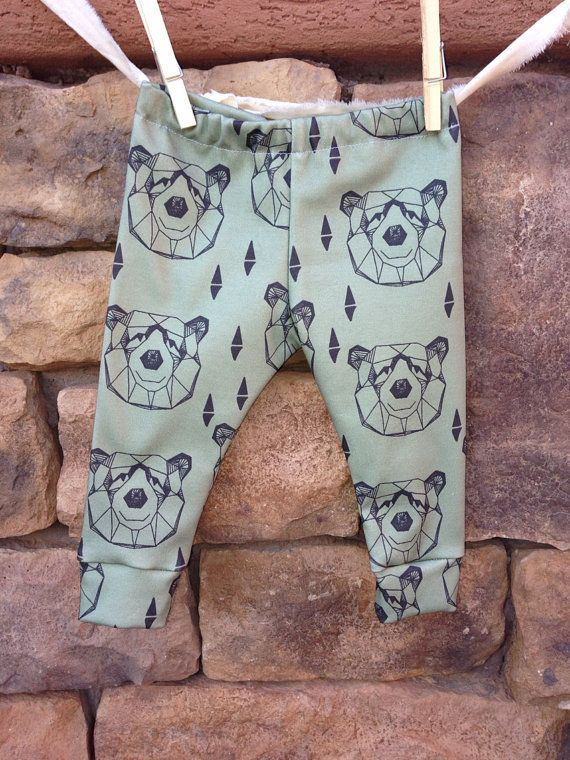 Bear Baby leggings, infant leggings, organic cotton leggings, printed leggings on Etsy, $25.00
