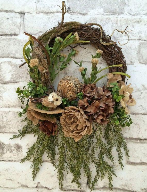 Woodsy Owl Wreath, Everyday Wreath, Neutral Wreath, Year Round Wreath, Fall Wreath, Front Door Wreath, Grapevine Wreath, Burlap Wreath, Silk Floral Wreath, Outdoor Wreath, Door Décor, Owl Décor, Wreath on Etsy, by Adorabella Wreaths!