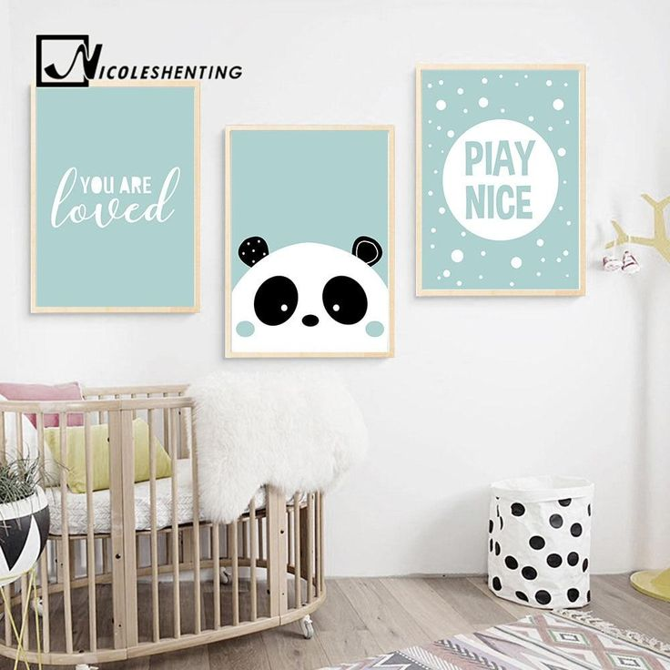 Cute panda cartoon poster nursery quote wall art canvas