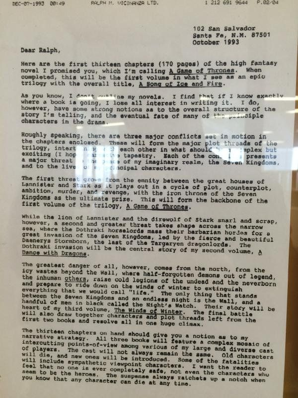 fir letter format%0A Here u    s the original  page outline George R R  Martin wrote for  u    Game of  Thrones u     in