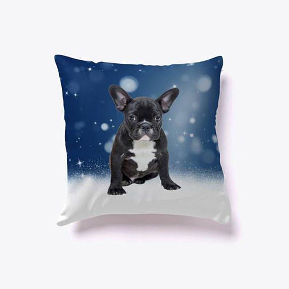 #FrenchBulldog Sitting in Snow #Pillow #dog #pet