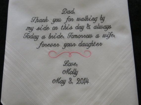 FREE GIFT BOX - Tailored verse for that special someone-/-Embroidered Wedding Handkerchief. Perfect gift for the Bride/Grooms Parents on Etsy, $23.00