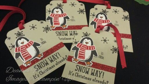 Stampin up Snow Place and Snow Friends bundle. Jumbo penguin Christmas tags. CardsbyDeanna.etsy.com