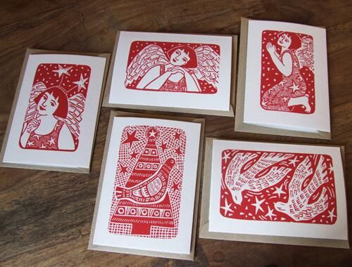 Handprinted Christmas cards by Inkyprints