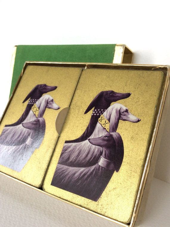 Afghan hound. Duratone playing cards. by SouthofFranceFinds