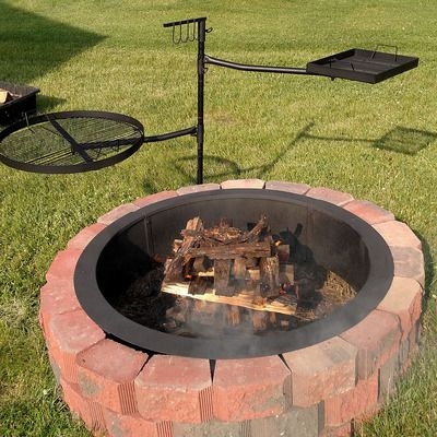 sunnydaze dual campfire cooking swivel grill system fire pit grill grategrill