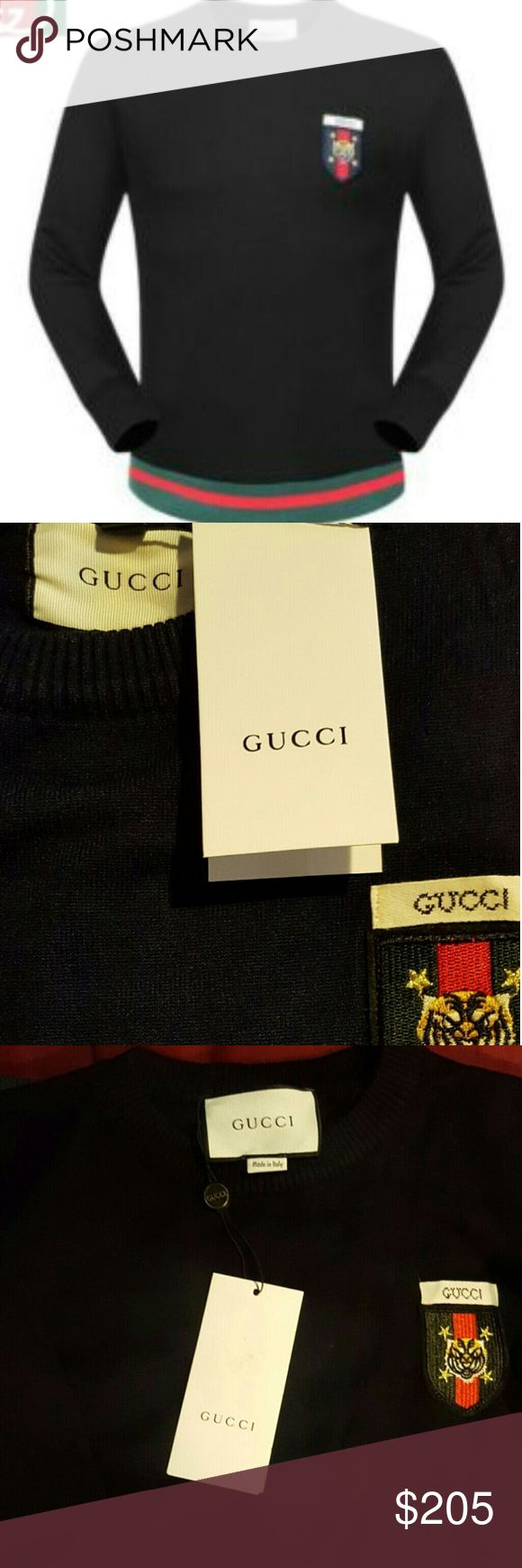 Gucci black Oxford Gucci black Oxford sweater that features a prestigious tailored fit with a luxurious cotton material. Gucci Sweaters Crewneck