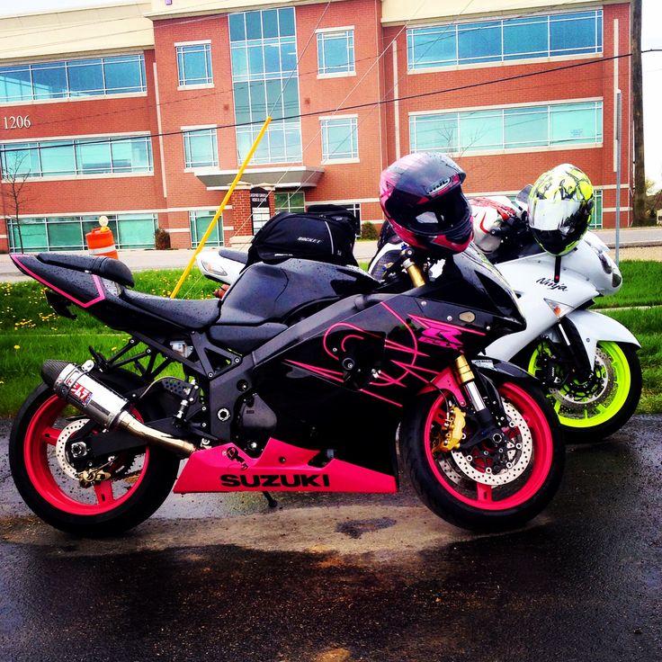 Suzuki GSX-R 600 2004 pink and black motorcycle! Skittles!!!