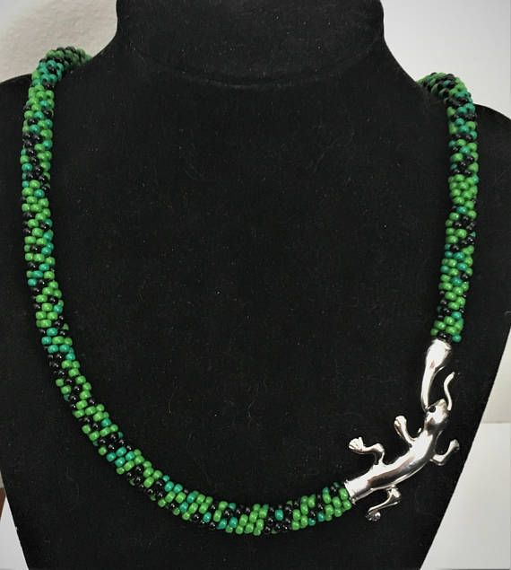 Handmade Beaded Necklace with Adorable  Salamander Clasp