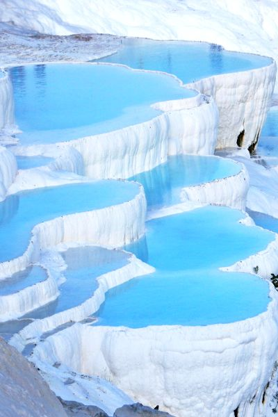 Pamukkale, Turkey. Travertine stone and thermal waters. Looks like snow. Translates as the cotton castle.