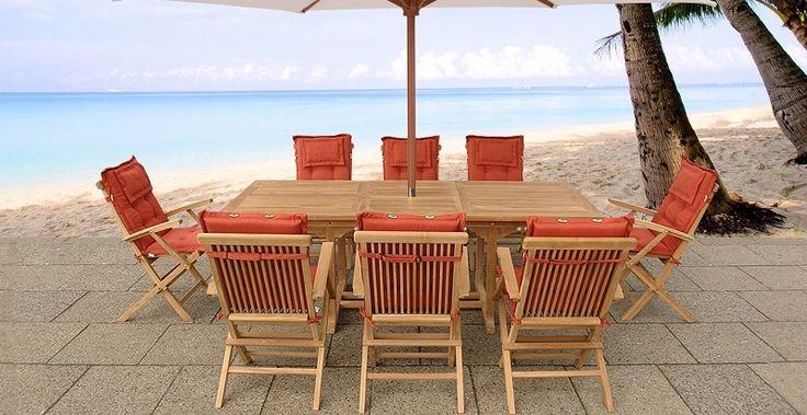 Zestaw mebli ogrodowych z drewna akacji, stól z 8 krzeslami - JAVA