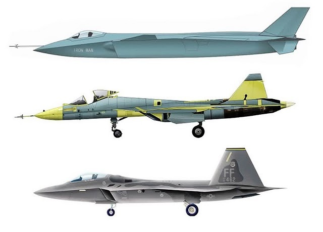 """Three of the world's fifth generation fighter aircraft. Top to bottom: the Chinese J-20 """"Vigorous Dragon"""", Russian Sukhoi T-50 """"PAK-FA"""", American Lockheed Martin F-22A """"Raptor"""". Only the F-22A is in front line service."""