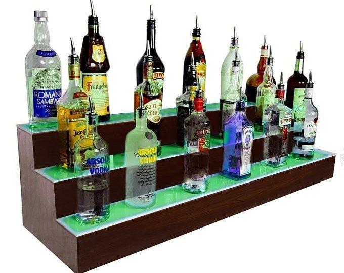 Wood Liquor Shelves Bar Shelf Shelves For Liquor Bottles Bottle Dsiplay 4 Tier Natural Multiple Sizes Bar Shelf Home Bars With Images Liquor Shelf
