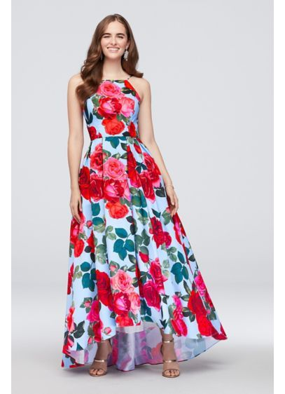 50544218106 Pleated Lace-Up High Neck Floral-Printed Ball Gown Style A21836 ...