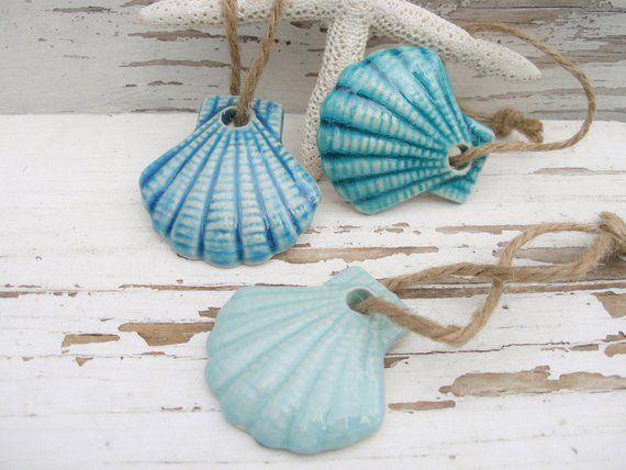 Seashell Ornaments 3 Shells Gift Tags Ocean Scallop Shell Handmade Set Seashell Handcrafted Ornaments Handmade Gift Tags Handmade Ornaments