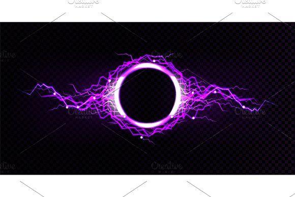 Electric Circle Frame With Lightning Circle Frames Glow Effect Lightning