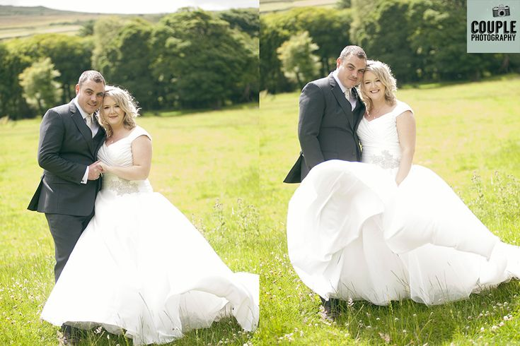 The bride & groom brave the wind for a romantic shot! Weddings in Mayo, Photographed by Couple Photography.