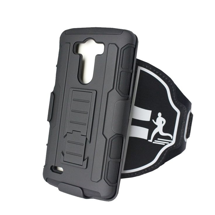 """Sports armband for LG G3, [Kickstand] [Shockproof] Hybrid Hard Case cover with sport armband combo, 180° Rotative, sport running jogging exercise sport case. Sport Armband compatible with LG G3. The perfect cell phone accessory to have while Running, Jogging, Biking or other outdoor exercises. Anti shock design with kick stand. Perfect Fit Without a Bunch of Excess Materials Hanging Over. Two optional locking system size A-B, which is suitable for arm size from 11"""" to 16""""."""