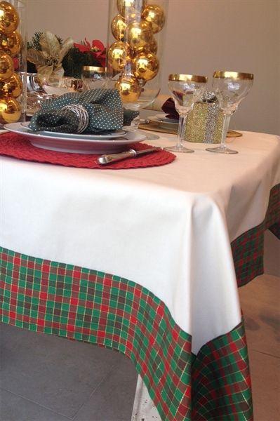 Scavone Casa. Toalha de Mesa Sarja Natal Xadrez - 1,60 x 1,60
