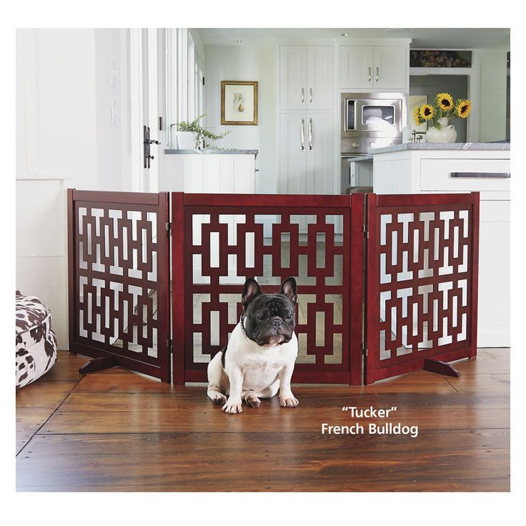 Modern Cutout Wood Freestanding Dog Gate - Dog Beds, Gates, Crates, Collars, Toys, Dog Clothing & Gifts