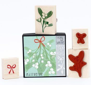 Christmas Mistletoe and bow stamp set