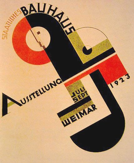 This is a Bauhaus exhibition poster done by Joost Schmidt, 1923. Bauhaus was a school in Germany  that opened in 1919 and taught all aspects of art, combining many styles and influences into one. Bauhaus was never one style but a combination of many. Some of the major influences include cubism, constructivism, and De Stijl. The goal of the Bauhaus was to meld diverse movements into new design approaches while finding each student's creative ability.