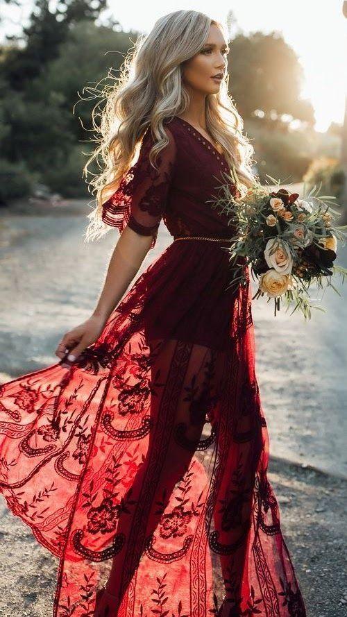 Women's Deep V Neck Short Sleeve High Waist Lace Prom Dress