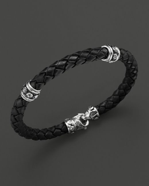 Scott Kay Men's Woven Black Leather Bracelet with Two Sterling Sil