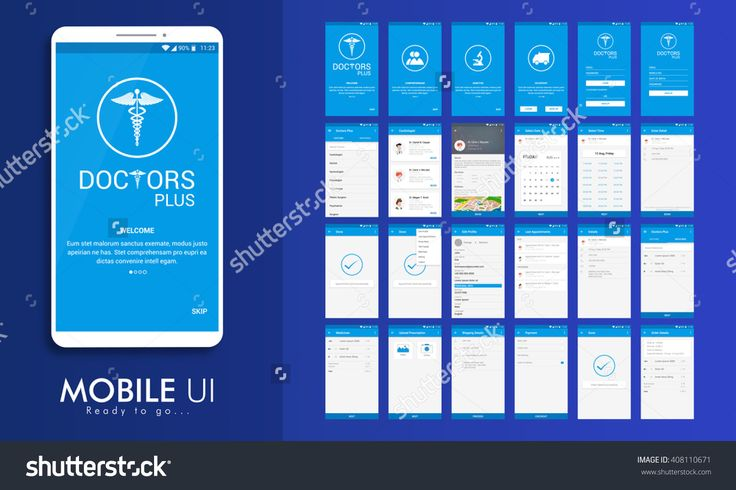 Material Design Ui, Ux, Gui Screens For Health & Medical Mobile Apps With Doctor Details, Booking, Select Date, Time, Edit Profile, Appointment Details, Shipping Details, Payment & Order Features. Stock Vector Illustration 408110671 : Shutterstock