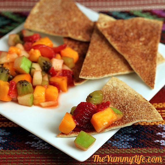 Mango Fruit Salad Salsa  - Serve with Sugar & Spice Tortilla Chips for an appetizer, brunch, or dessert: Fruitsalad, Tortillas Chips, Fun Recipe, Fruit Salads, Saladsalsa, Salad Salsa, Tortilla Chips, Spices Tortillas, Mango Fruit