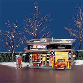 """Department 56: Products - """"NASCAR Garage"""" - View Lighted Buildings"""