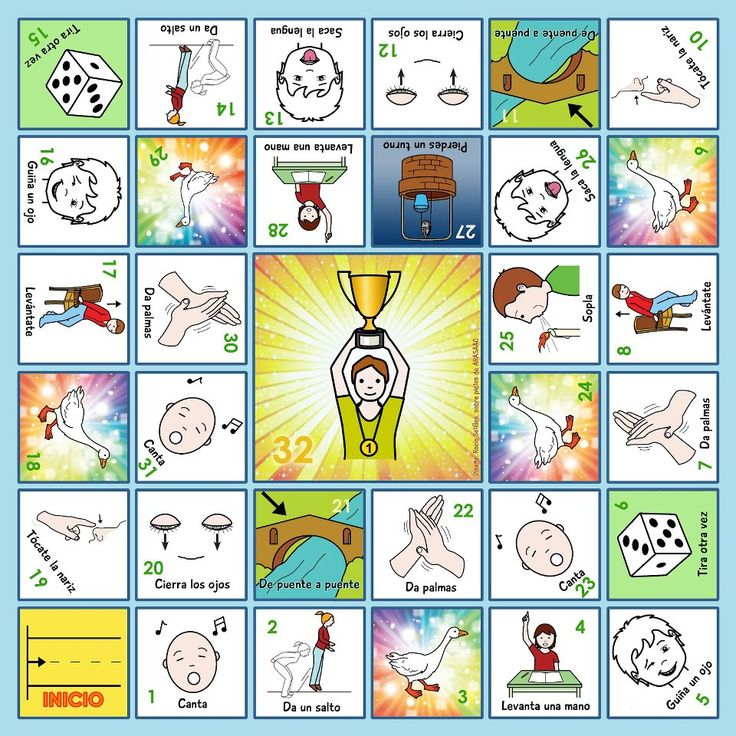 """MATERIALES EN LA RED - Juego de la Oca     """"Oca de Acciones"""". Cada casilla tiene el picto de una acción (sencilla) que tienen que realizar al caer en ella; además, hay profusión de casillas de """"tira el dado"""" y """"de oca a oca"""", a fin de facilitar la llegada a meta y que el juego no pierda interés.    http://latribudelossuperpapas.blogspot.com.es/2012/07/de-oca-en-oca.html"""