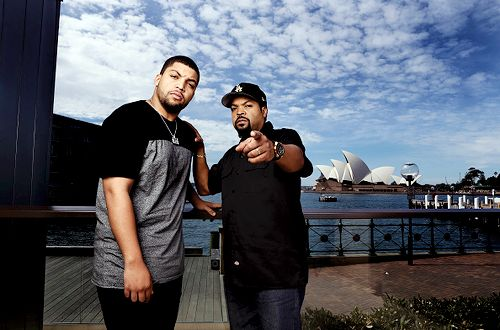 "celebritiesofcolor: "" O'Shea Jackson Jr. and Ice Cube in Sydney to promote their new movie 'Straight Outta Compton' on September 2, 2015 "" Can't lie my current fantasy is to get smashed by them both. Real shit."
