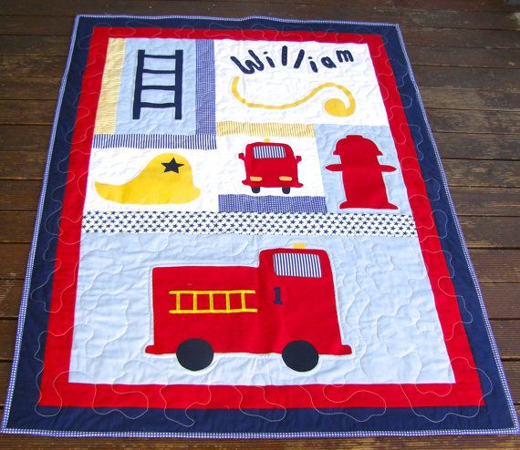 Baby Boy Quilt Firetruck quilt fireman by BlackTulipQuilts on Etsy, $170.00