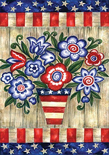 Toland - Patriotic Flowers - Decorative America Red White Blue 4th July USA-Produced Garden Flag