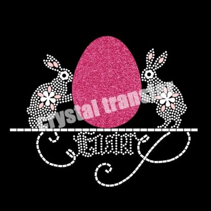 Two Bunny with A Easter Egg Rhinestone Heat Transfers Iron on