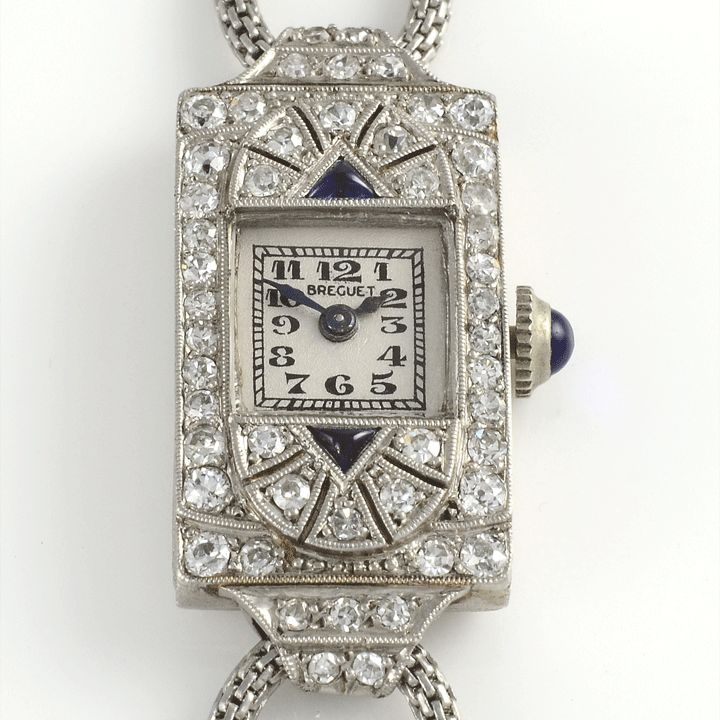 Vintage Swiss ladies platinum, diamond and sapphire wrist watch by Breguet. This wrist watch features a platinum case with diamonds and two trillio… | Watch | Pinterest | Sapphire and Diamond